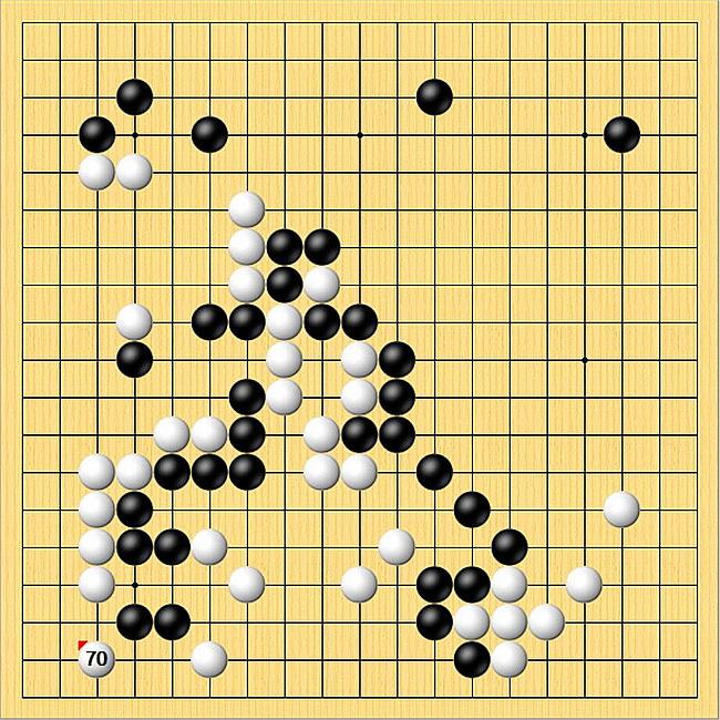 首页 新闻棋谱 围棋新闻 世界大赛 贺岁杯  进入中盘,柯洁在左下白70图片